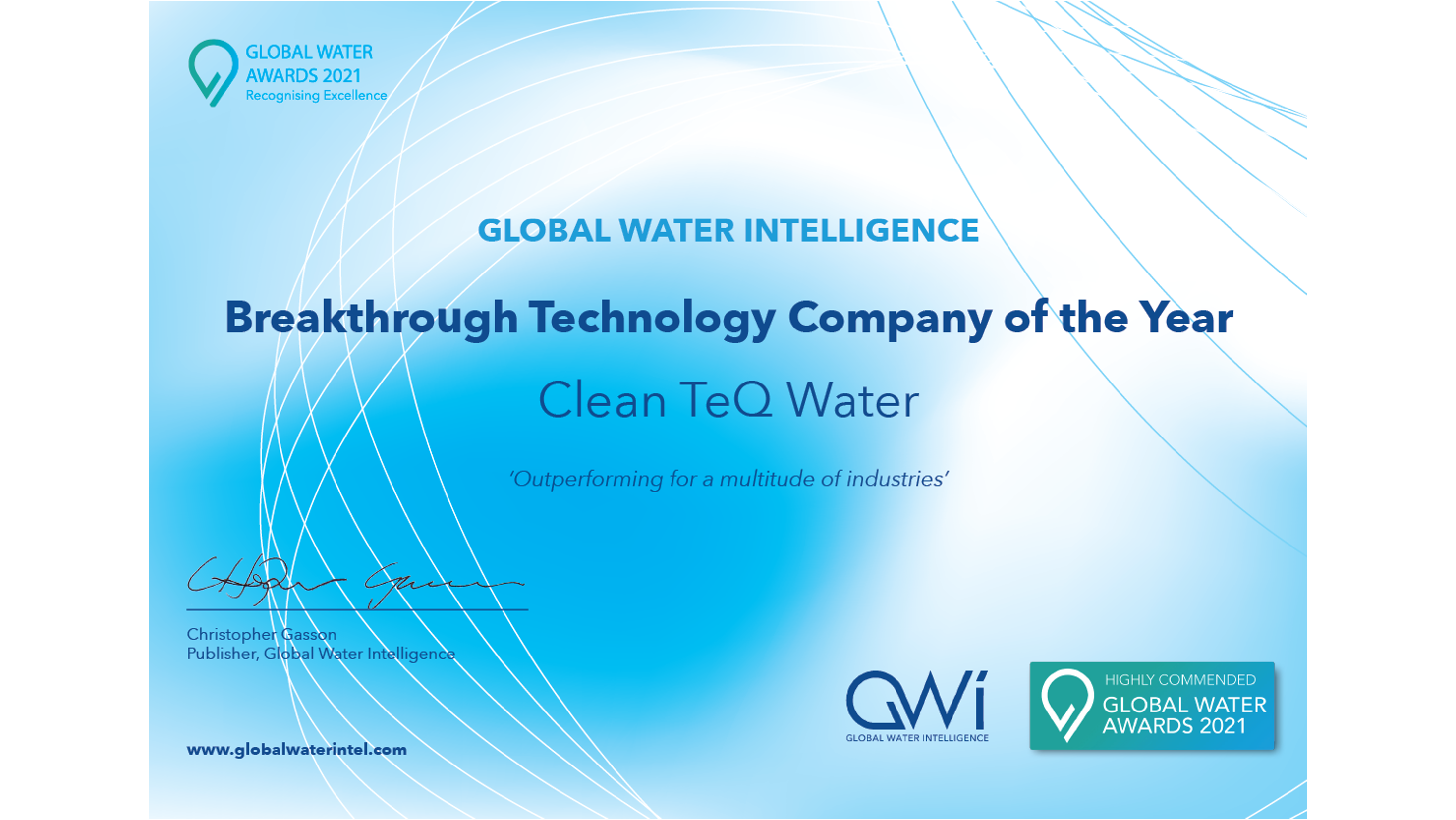 Clean TeQ Water Receives Highly Commended Award